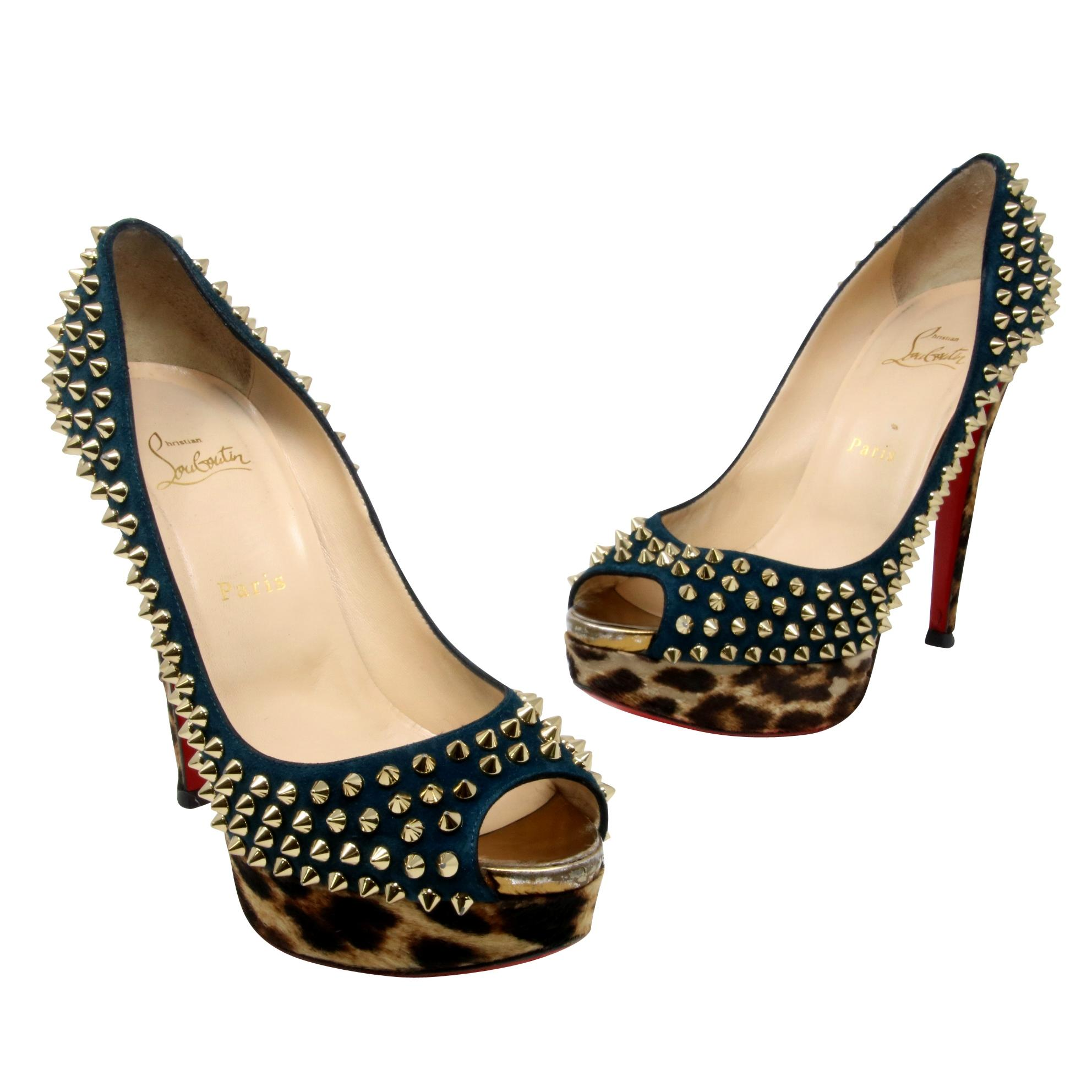 dfc965c6242 Christian Louboutin Teal Blue Suede Leopard Pony Pony Pony Hair Lady Peep  Spikes 150 39.5 Pumps Size US 9.5 Regular (M