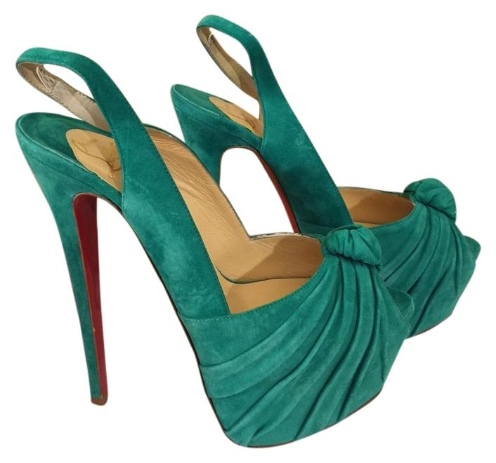 Christian Louboutin Turquoise Miss Benin 160 Suede Platform Slingback 38.5 US Sandals Size US 38.5 8.5 35fd62