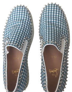 Christian Louboutin White and blue squares Flats