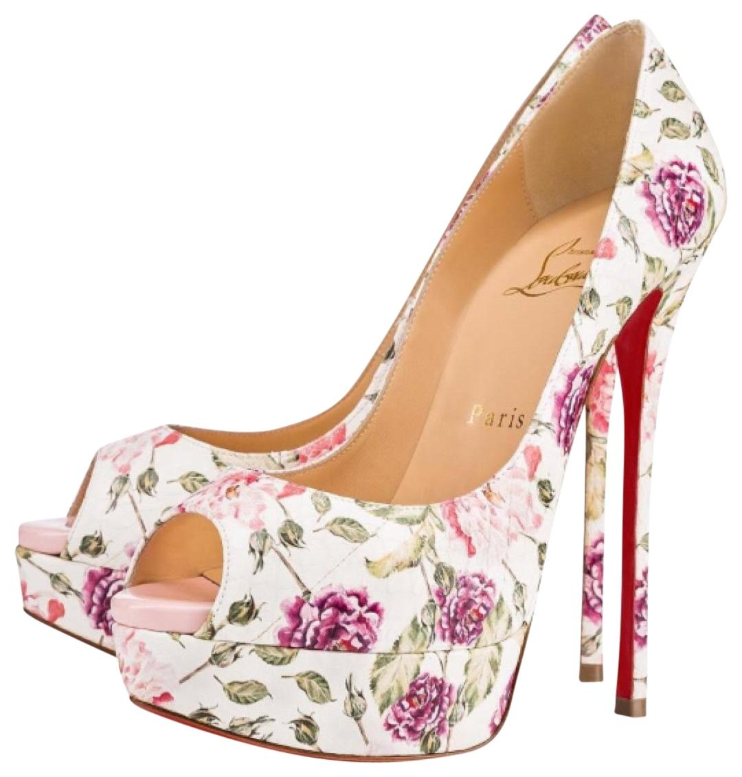 Christian Louboutin White Fetish Peep Toe Floral Stiletto Watersnake Pumps Size EU 38.5 (Approx. US 8.5) Regular (M, B)