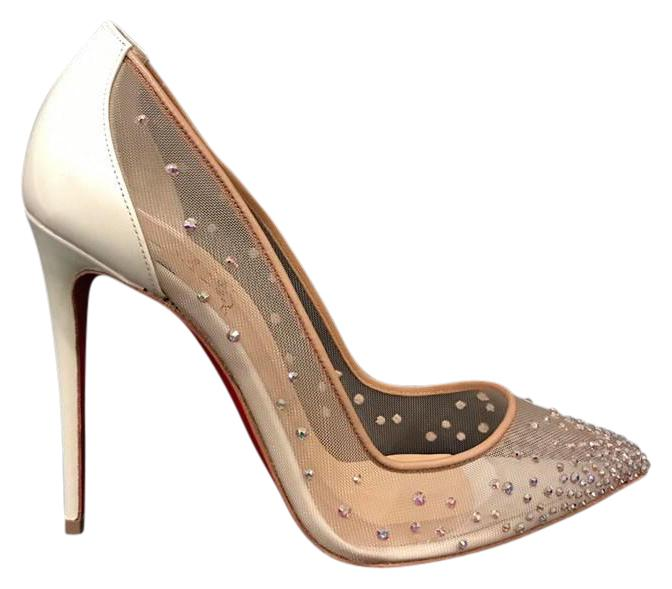 Christian Louboutin White Follies Strass 100 Nude Mesh Pigalle Heel Pumps Size US 10.5 Regular (M, B)