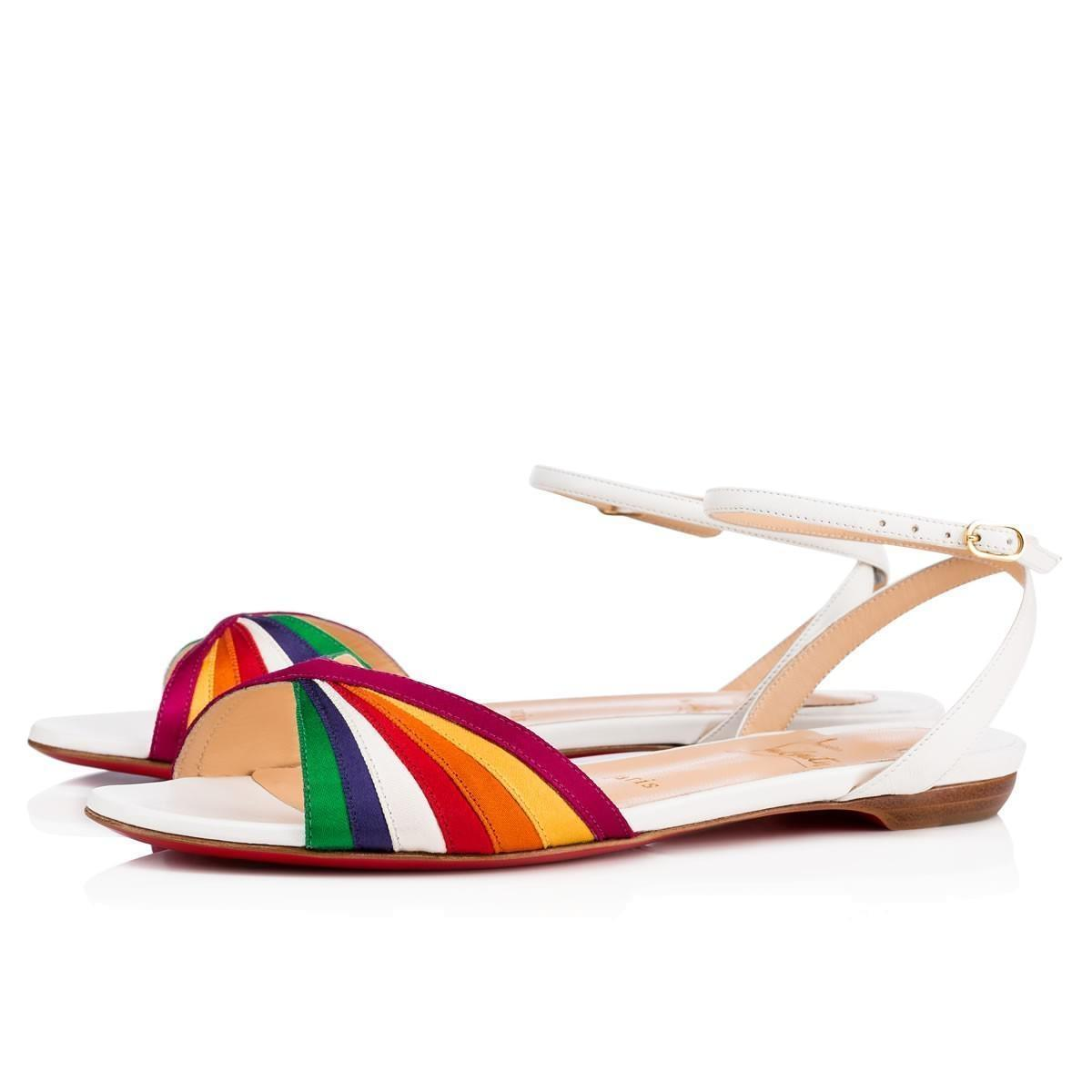 Christian Louboutin White Naseeba Flat Latte Rainbow Red Multicolor Ankle Strap Slide Sandals Size EU 39 (Approx. US 9) Regular (M, B)