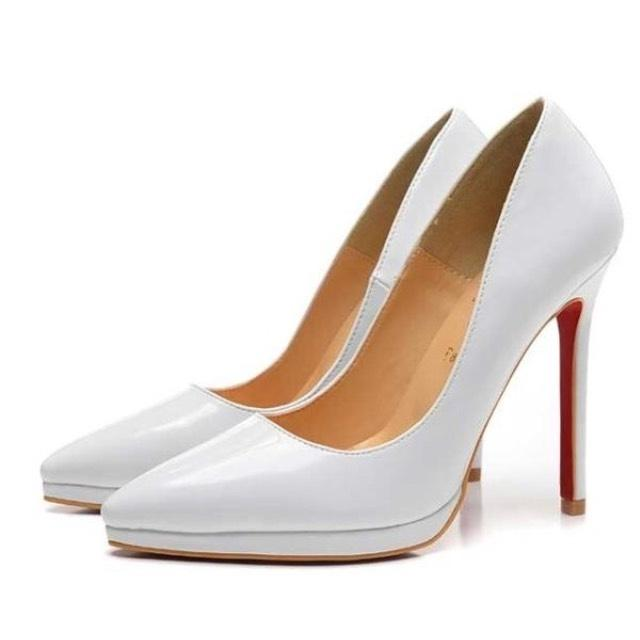 Christian Louboutin White Pigalle Plato Pumps Size EU 37.5 (Approx. US 7.5) Regular (M, B)