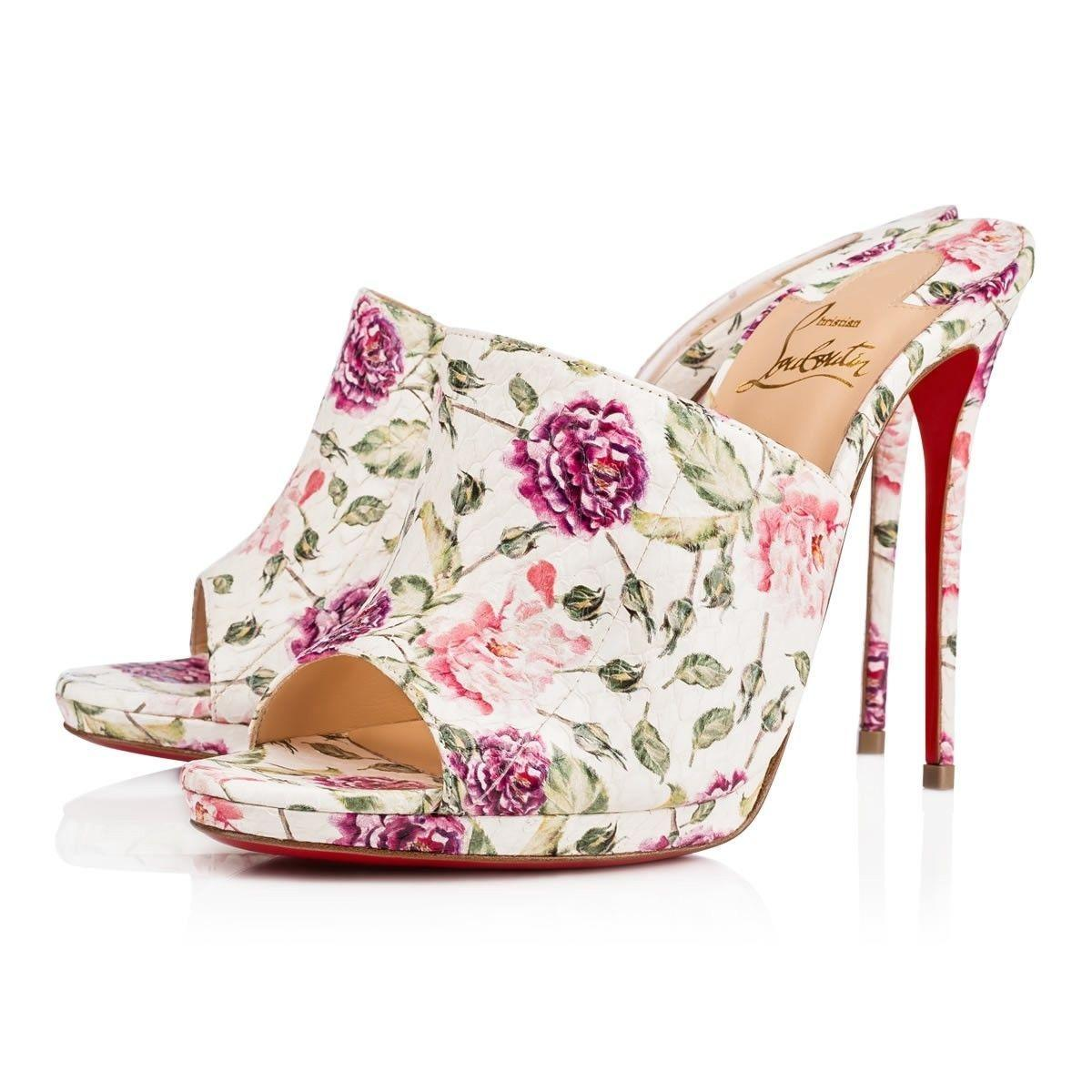Christian Louboutin White Pigamule 120 Pink Floral Snakeskin Backless Mule Sandal Heel Pumps Size EU 39.5 (Approx. US 9.5) Regular (M, B)