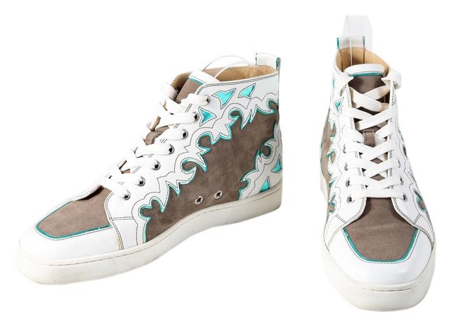 26fa1953e2ee Christian Louboutin       White Brown Blue Leather Abstract High Tops  Sneakers Size US 8 Regular (M