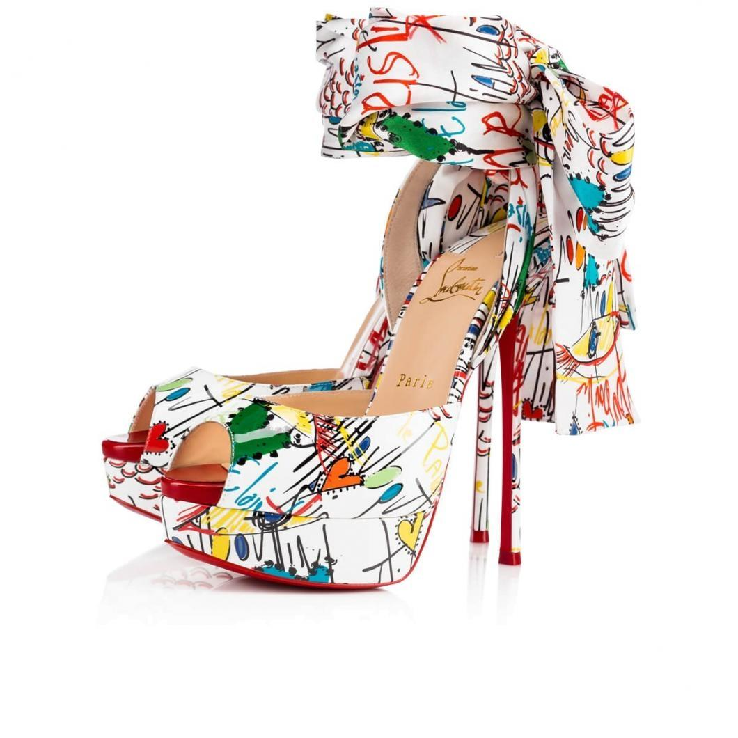 Christian Louboutin White/Flamenco Jersey Vamp 150 Loubitag Ankle Tie Heels Sandals Pumps Platforms Size EU 38.5 (Approx. US 8.5) Regular (M, B)