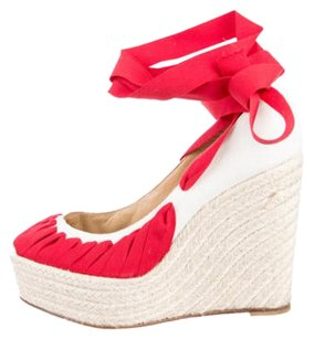 Christian Louboutin White/Red Wedges