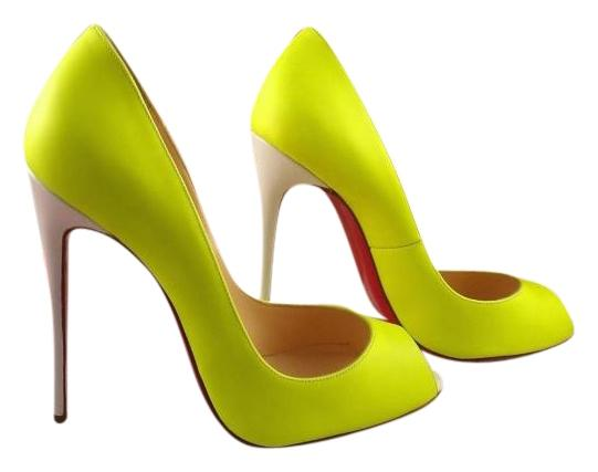 Christian Louboutin Yellow Youpi 120 Fluo Neon Open Toe Leather Heel 37 Pumps Size US 7 Regular (M, B)