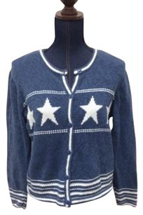 Christopher & Banks Cotton Blend Cardigan With White Stars Sweater