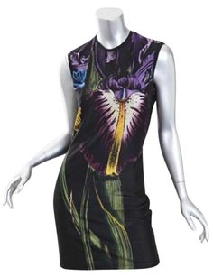 Christopher Kane Womens Orchid Floral Fitted Stretchy Pencil Sleeveless Dress