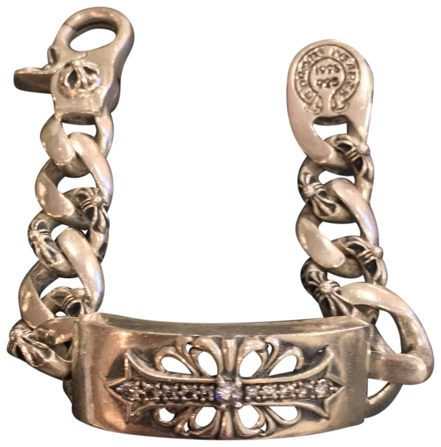 Chrome Hearts Silver Sterling Floral Id Lobster Clasp With Diamond