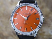 Citizen Citizen Date Flake Orange Manual Mens 1960s Dress Watch D107