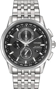 Citizen Citizen Eco-drive Mens Black Dial Stainless Steel World Time Watch At8110-53e