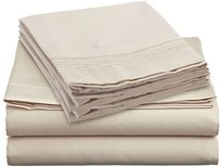 Clara Clark 4 PC King Size Sheets Set, Beige