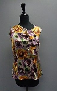 Classiques Entier Sleeveless W Ruffles Silk Sma4705 Top Purple And Yellow