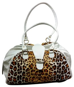 Clever Carriage Company Leopard Print & White Weekend Bag Travel Bag
