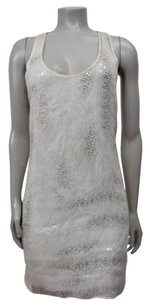 Club Monaco short dress White Silk Sequin on Tradesy