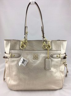 Coach Metallic Leather Tote in Gold