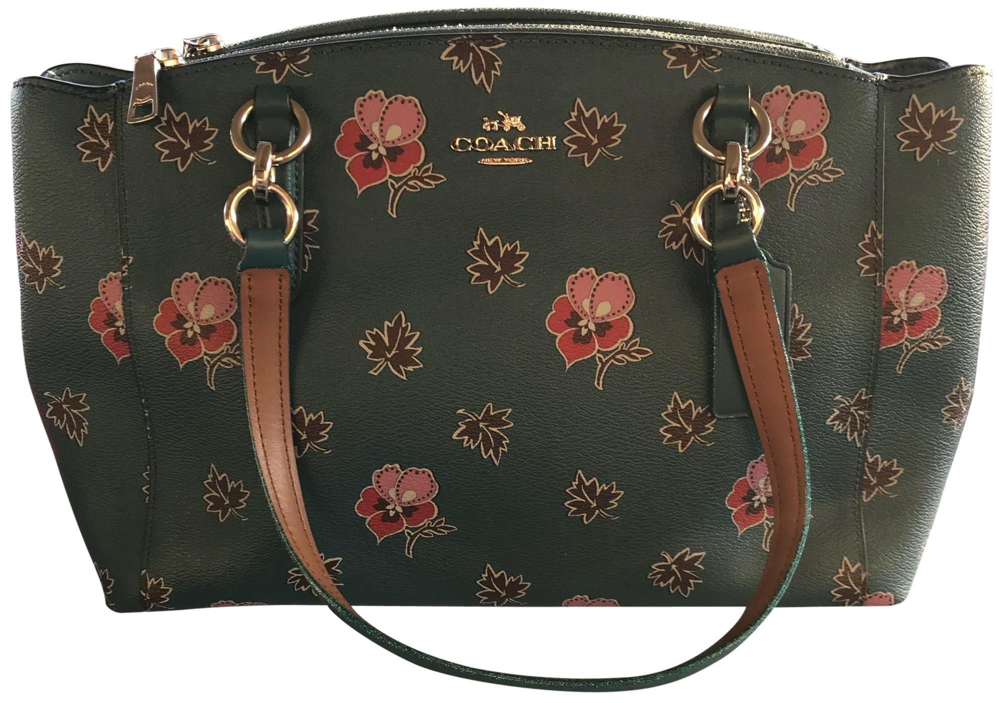 Coach Blue/Floral Leather Shoulder Bag - Tradesy