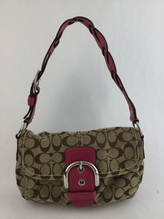 Coach Cc Monogram Canvas Leather Shoulder Bag