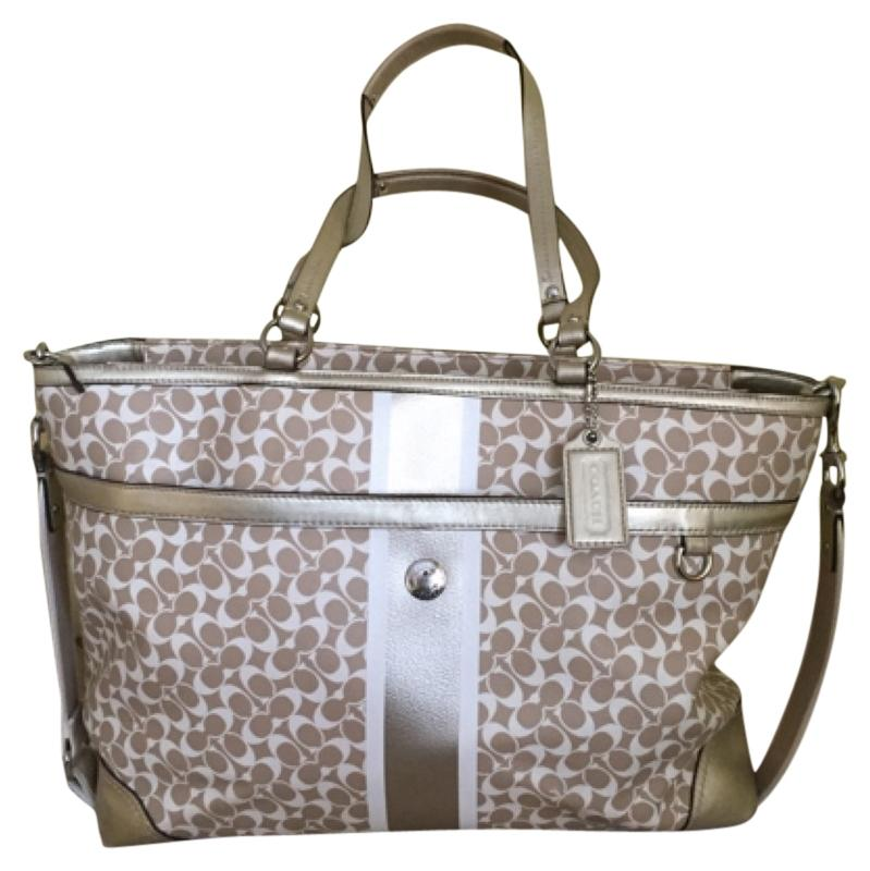 a04439f703f5a ... coupon for coach laptop weekender khaki white gold diaper bag f1444  86591