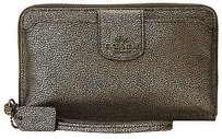 Coach Coach 53675 Gold Embossed Textured Leather Phone Pocket Wristlet Wallet