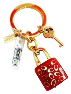 Coach Coach Red Signature C Lucite Lock & Key Keychain F63095 NWT & Dust Bag