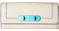Coach Coach 54809 Swagger Chalk Pebbled Leather Turquoise Flap Wallet Rare