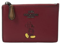 Coach Coach 56265 Disney Mickey Red Smooth Leather Mini Skinny Wallet