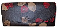 Coach Coach Black Red Floral Pebble Leather Snap Envelope Wallet Clutch -