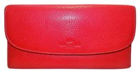 Coach Coach Pebble Leather Checkbook Clutch Wallet F52715 250.00 True Red