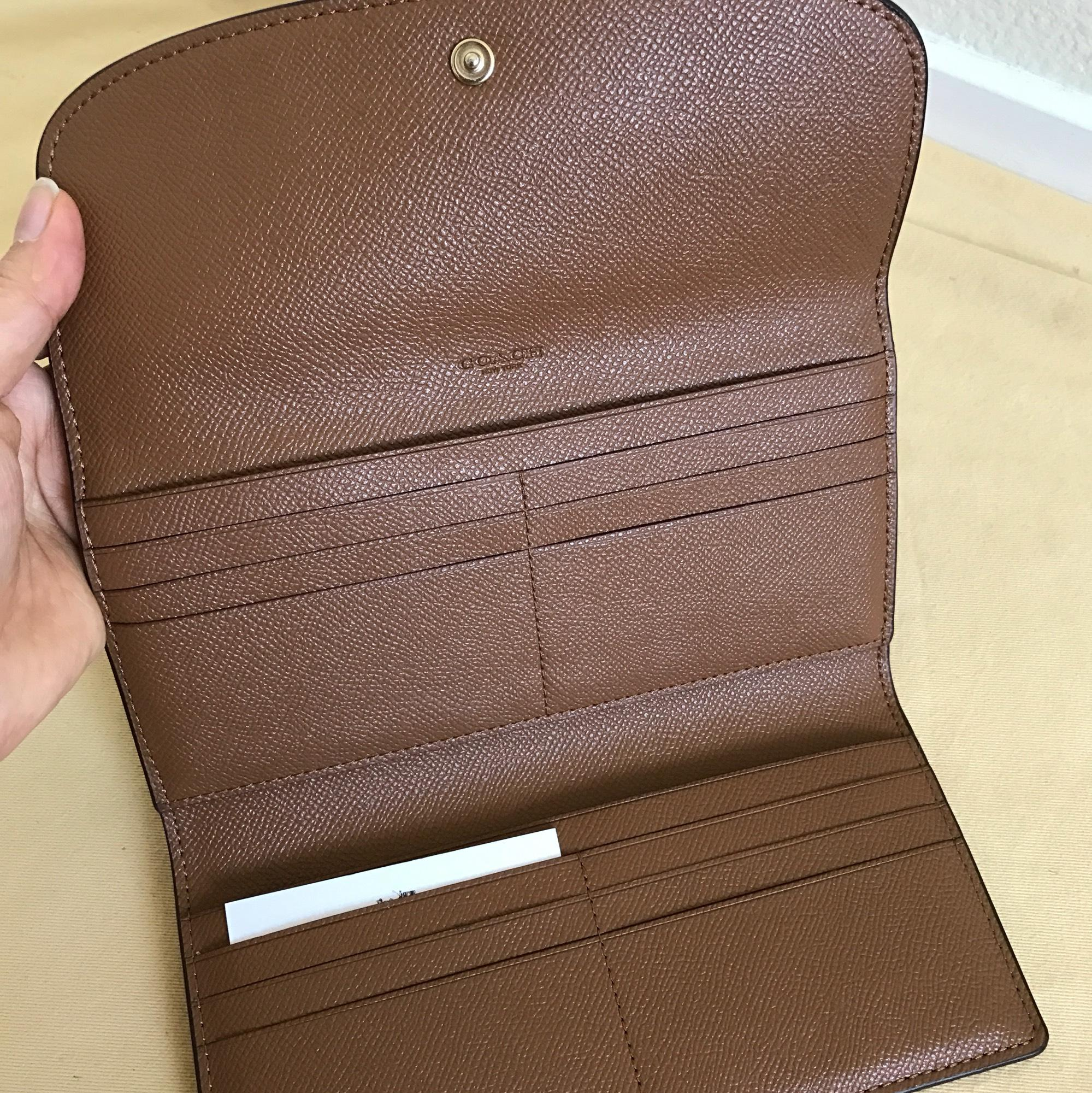 4655aa3e69be ... usa coach dark saddle checkbook in pebble leather f56488 wallet tradesy  97edc 3cdb7 best price coach signature ...