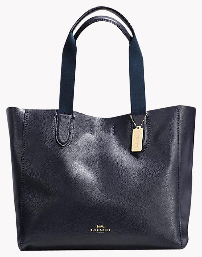 Coach F59818 Leather Navy Tote in gold/navy