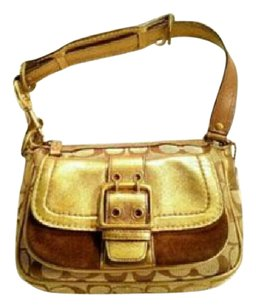 Coach Leather Suede Jacquard Khaki Shoulder Bag