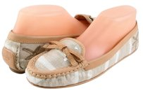 Coach Ireen Starfish Khaki Leather Canvas Sequence Designer Bow Loafers 6.5 Beige Flats