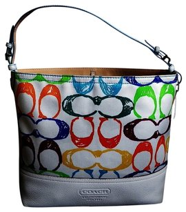 Coach Louis Vuitton Dooney Gucci Channel Rare Vintage Tote in Multi-Color/White