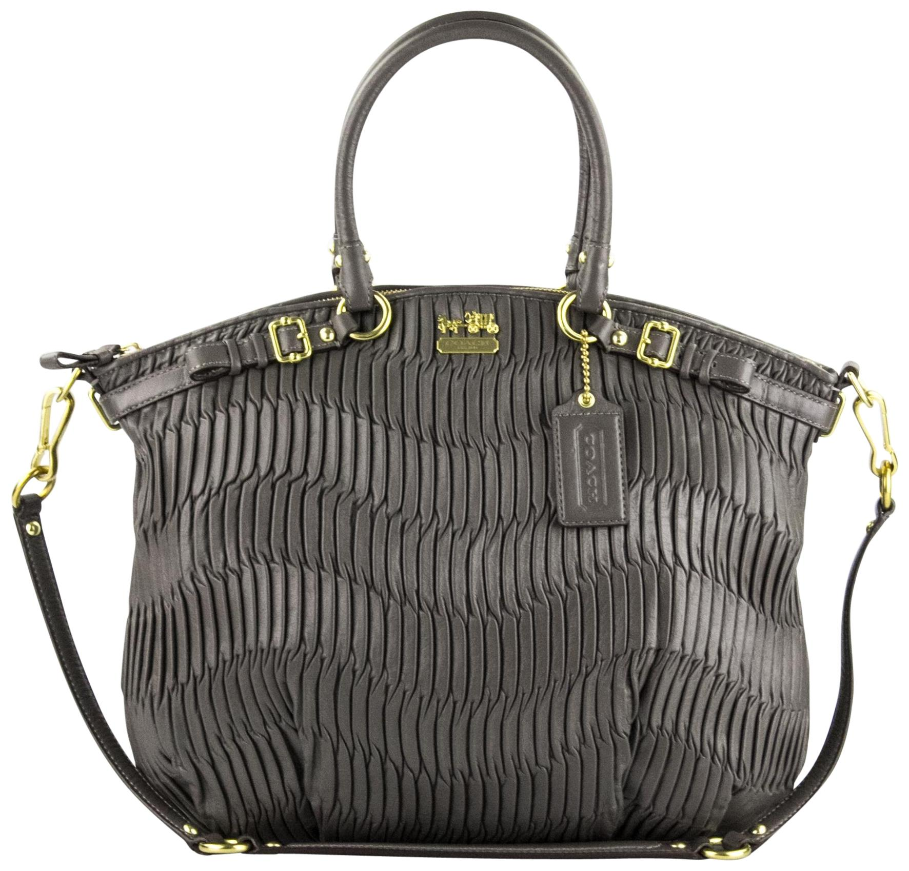 d42b0dfe4370 ... discount code for coach madison gathered leather lindsey north south  satchel in grey d792b 15ec3