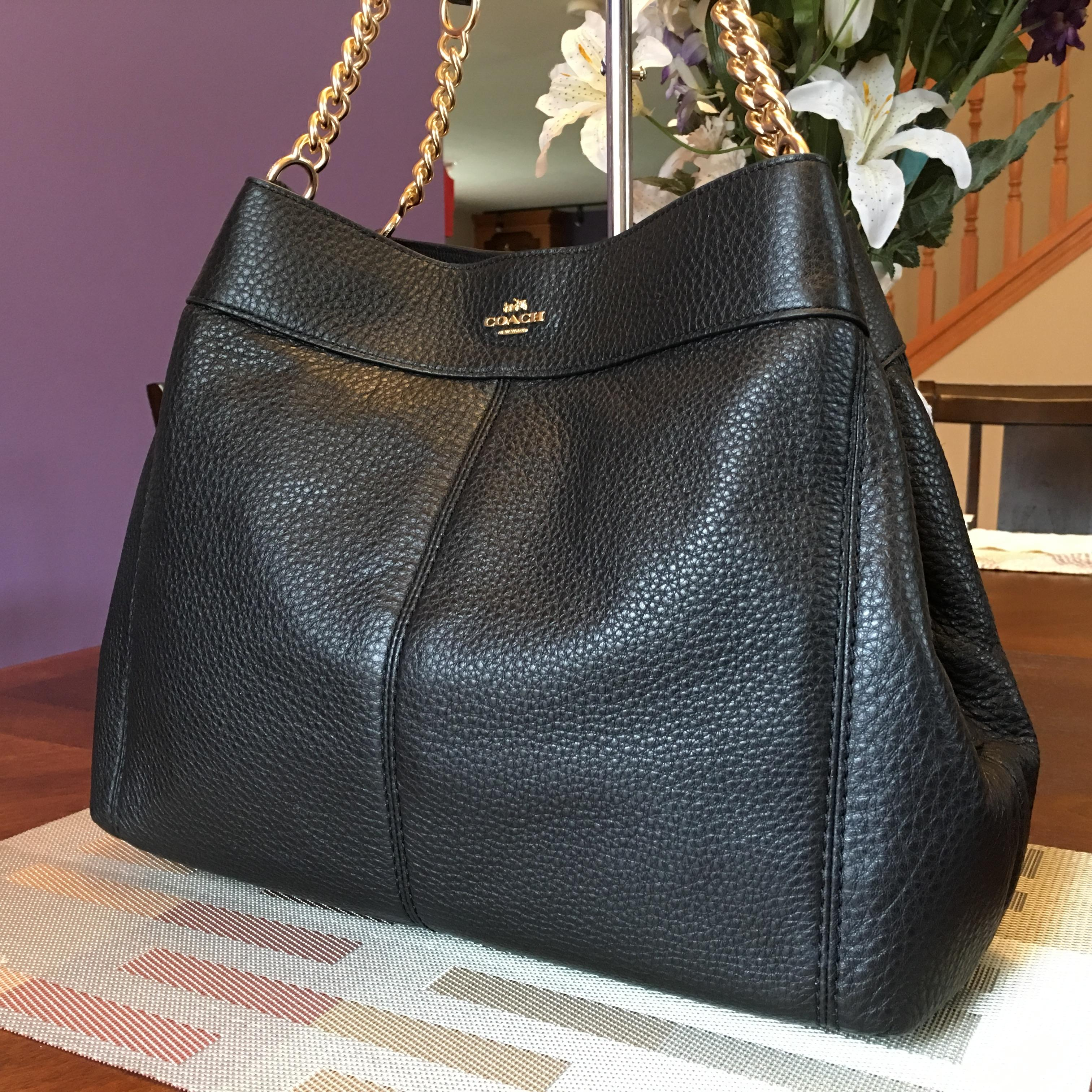 8c4dc118d2b2a new zealand womens coach bags chain f9592 473bf  canada coach lexy new  f27594 black pebble leather chain shoulder bag tradesy 9863f e9957