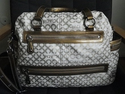 Coach Louis Vuitton Dooney Bourke Gucci Channel Rare Vintage Tote in Khaki Gold