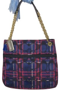 Coach Poppy Tartan Slim Tote in Multi-Color