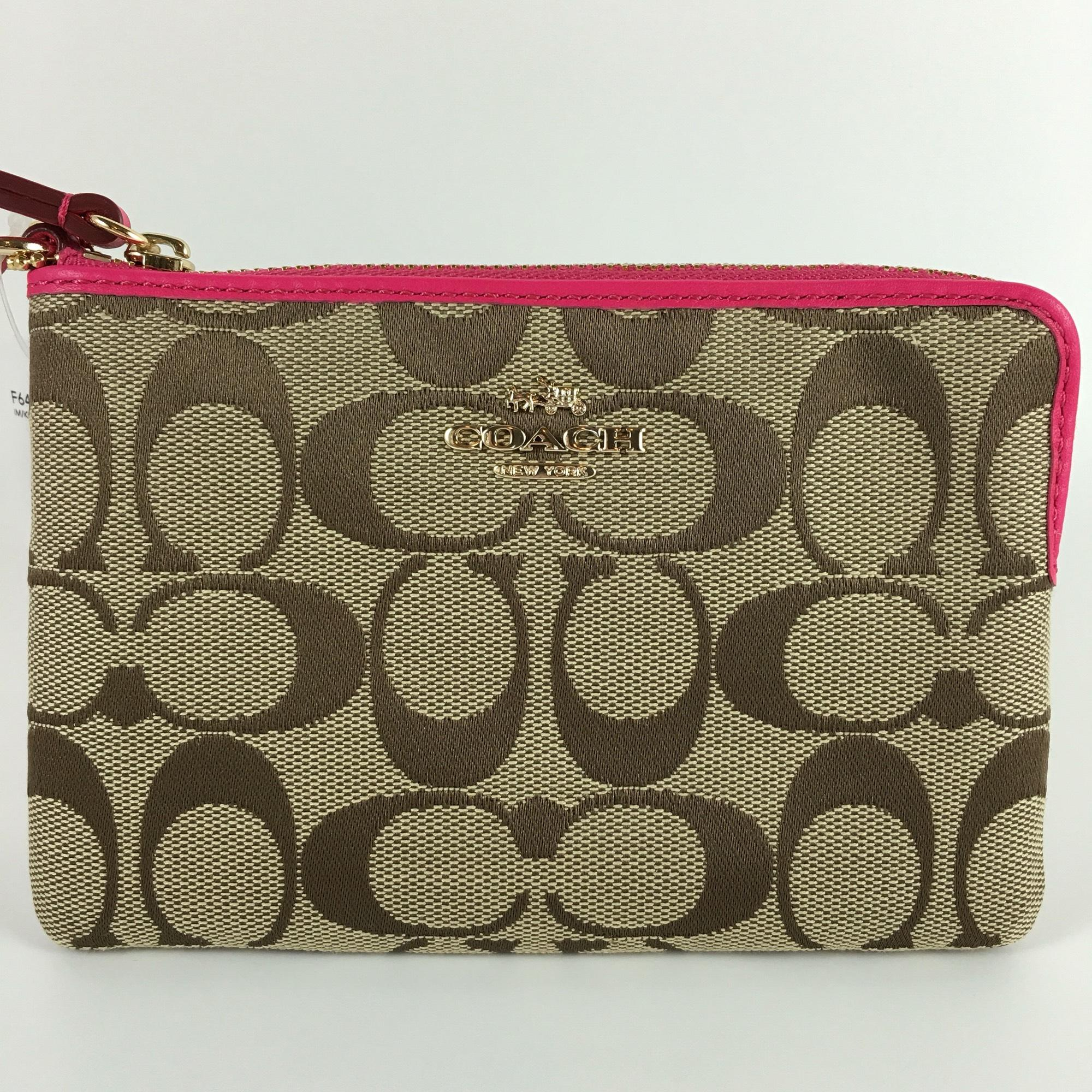 c80a6bad5240 ... free shipping coach signature f64375 wallet wristlet in khaki pink ruby  b01c4 21c37