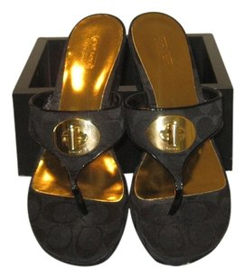 Coach Sandal Black And Size 9b black/ gold Wedges