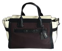 Coach Satchel in Black, burgundy, chalk