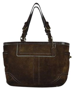 Coach Womens Solid Satchel in Brown