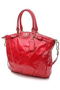 Coach Diagonal Patent Satchel in Ruby (Red-pink)