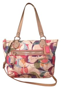 Coach Satchel in Tan White Pink Blue Yellow Orange Red