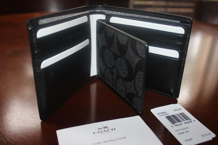 a828d7a28b0b ... where can i buy coach signature compact id double billfold charcoal  black wallet f74993 a27c5 7c541