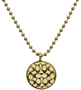 Coach Signature Disc Bead Chain Necklace C Brass Designer Coach