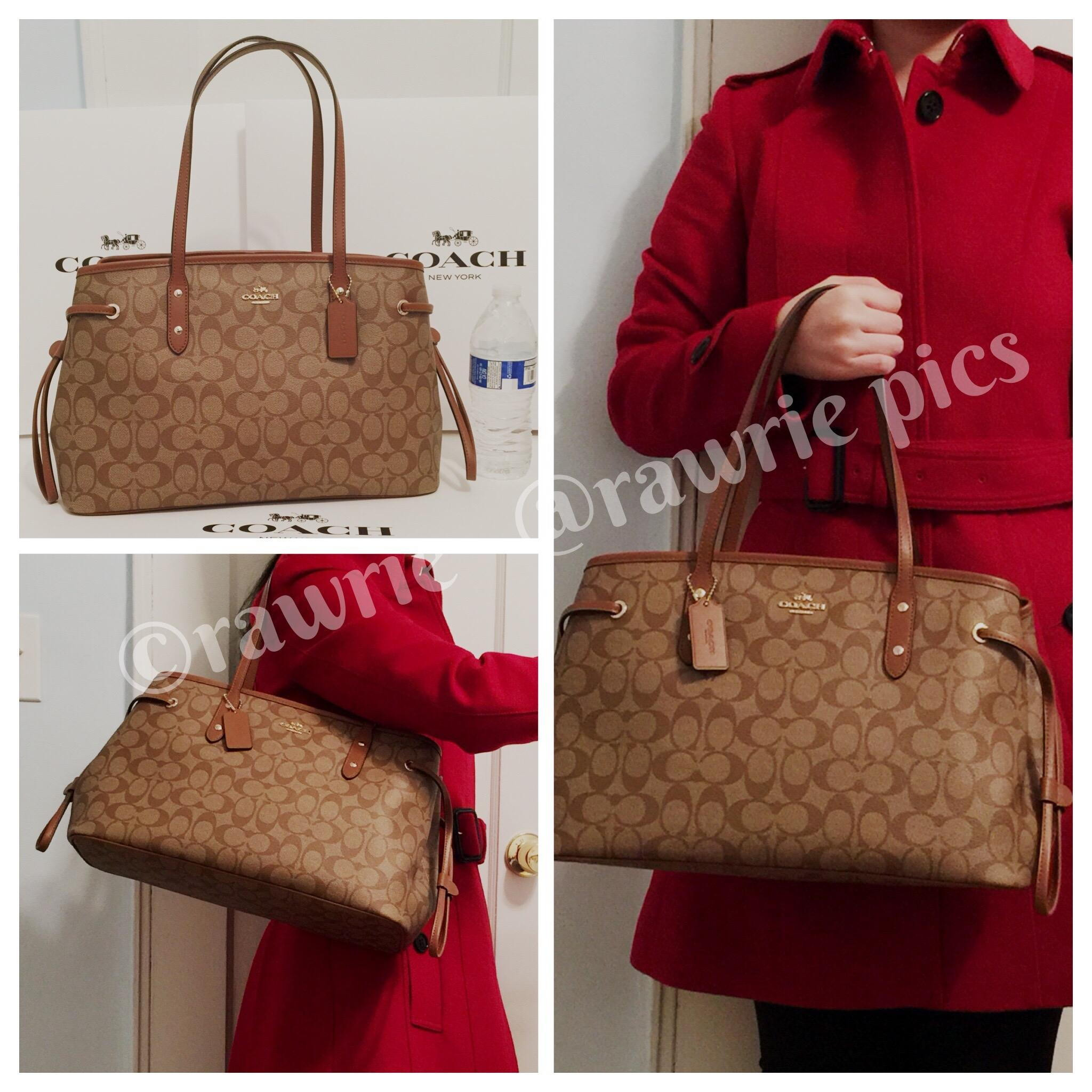 51517c8c1 ... italy coach monogram shoulder logo classic tote in khaki brown. 12345  560b2 ced5e