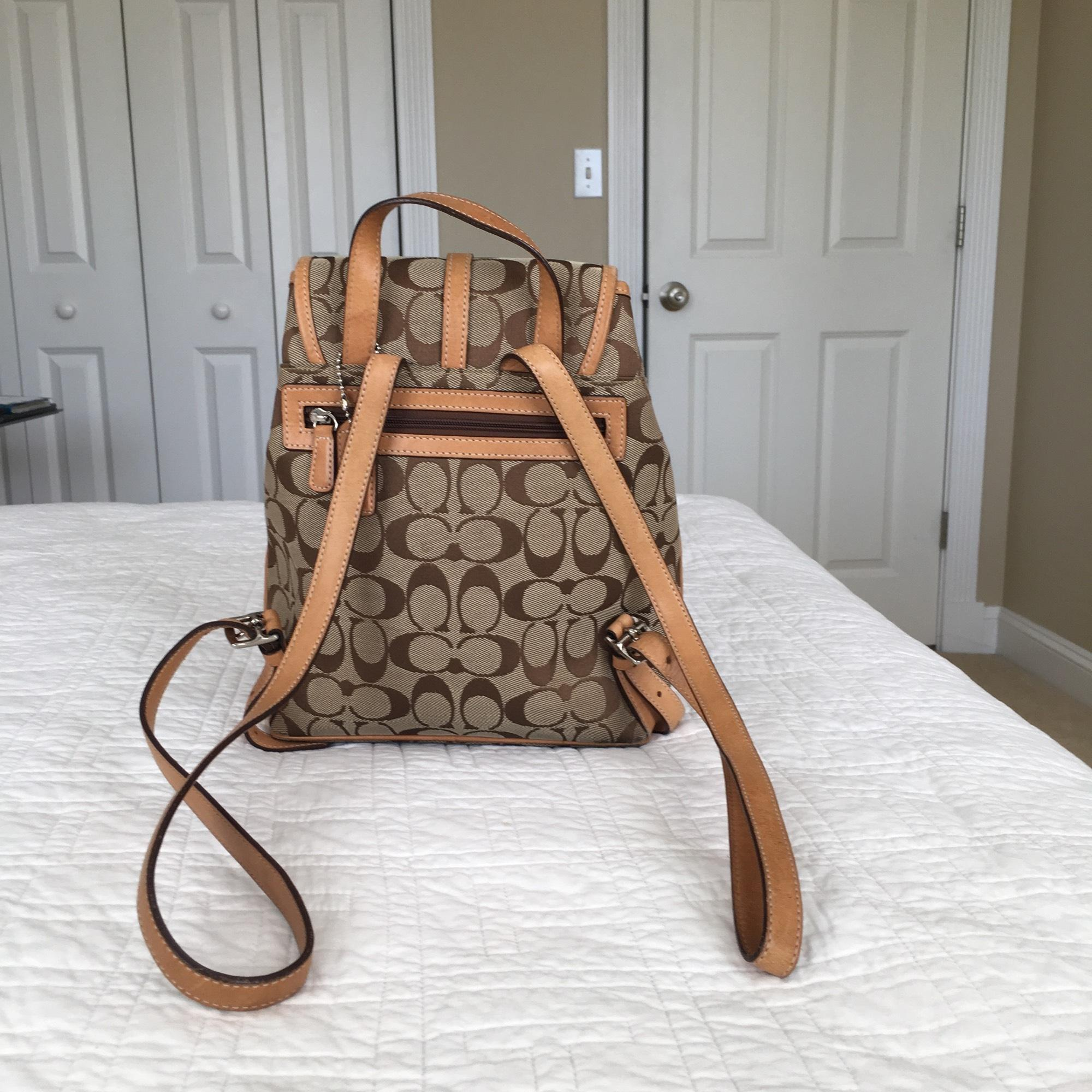 091418e186c35 ... hot coach signature with trim straps beige canvas and leather backpack  tradesy 98e44 57a5a